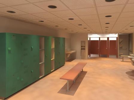 Bradley Locker Room   Revit Toilet Partitions-Lockers-Lavatories   Rendered View