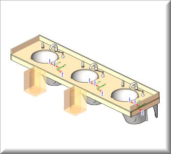 Bradley Corp OmniDeck LD-4010 | 3 Spherical Bowls | Revit Family File