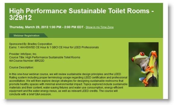 Register for Bradley AIA-CES Sustainable Design Webinar