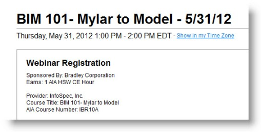 Pick to Register for Bradley AIA-CES BIM 101 | Mylar to Model Webinar Course