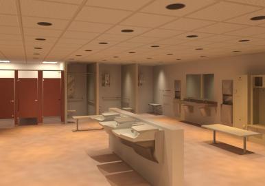 Bradley Advocate AV90 Revit Family Locker Room Installation