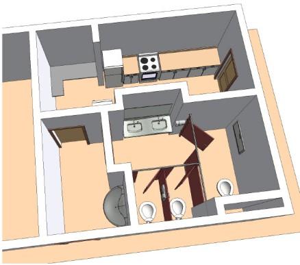 Bradley Revit Toilet Partition Family   3D Toilet Room Floor Plan View