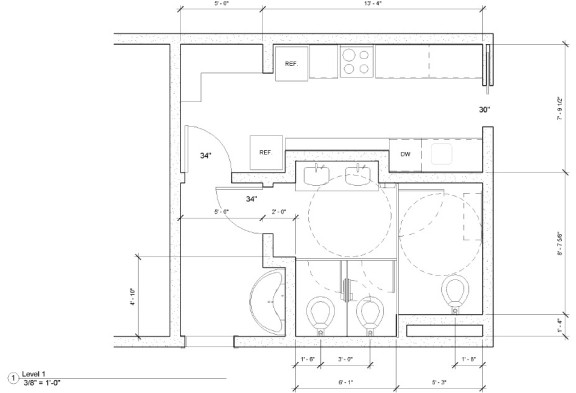 Bradley Revit Toilet Partition Family   Toilet Room Plan