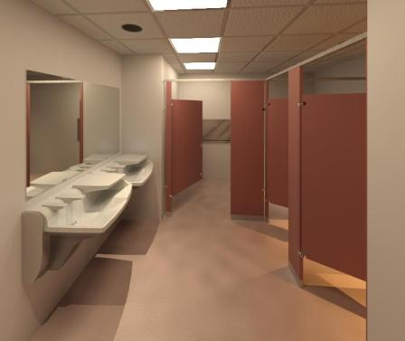 Revit Toilet Room with Bradley Advocate AV-SerieTouchless Handwashing System, Mirrors and Toilet Partitions