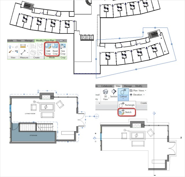 Revit 2014 Features Non-rectangular Call Out \ Crop Region Option