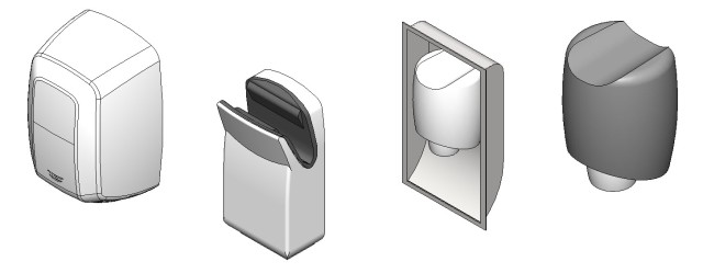 Download Bradley Aerix Revit Hand Dryer Family Models 2901 -  2921 - 2922