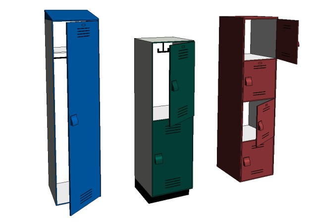 Bradley Lenox Tiered-Locker Revit Family Model Options
