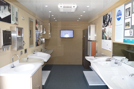 (2014) 4th Generation BradVan Mobile Showrooms have a variety of Bradley commercial plumbing & Washroom products installed within the showroom