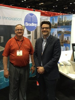Photo Opp: Jim Schneider, Editor for Plumbing Engineer Magazine (ASPE) stopped at Bradley's 2014 AIA Convention Booth in Chicago.