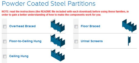 View - Download Bradley (Mills) Powder-Coated Steel Toilet Partition Revit Models