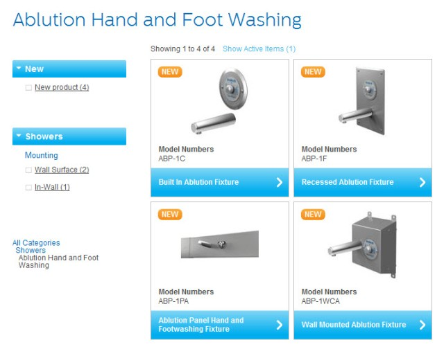 View Bradley Expanded Ablution Fixture Product Line