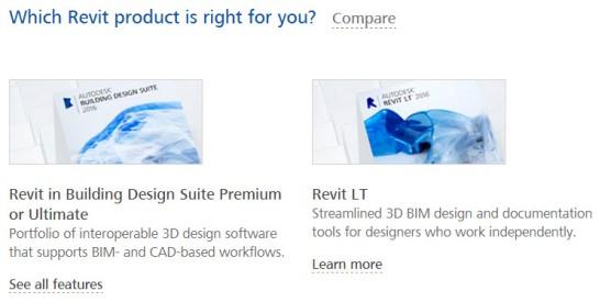 View Revit 2016 Comparison Feature Chart Between Revit Building Design Suite and Revit LT 2016