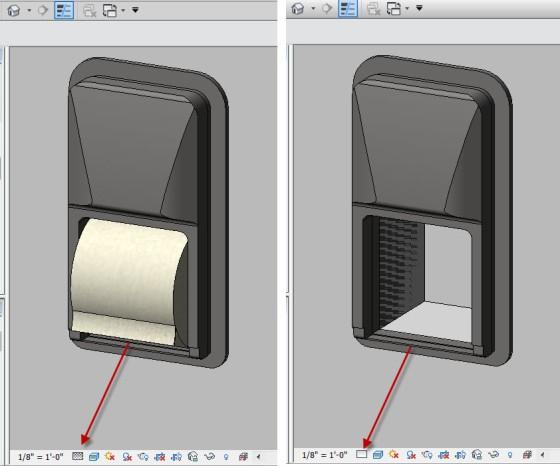 Bradley Diplomat Toilet Paper Dispenser Revit Model Visibility Settings: Coarse, Medium and Fine