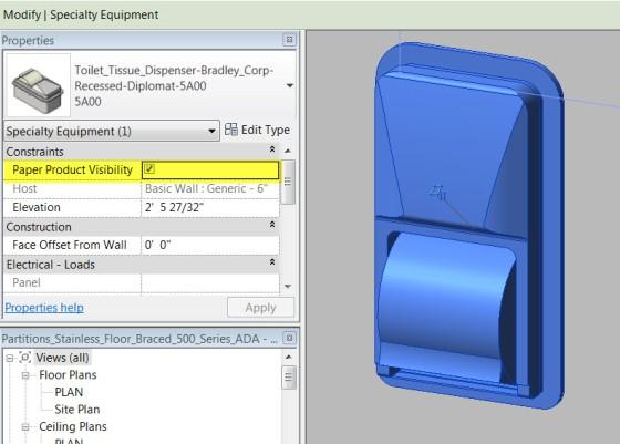 Bradley Diplomat Toilet Paper Dispenser Revit Model Visibility Settings